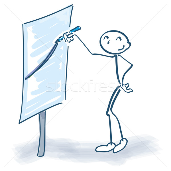 Stick figure stands in front of a flip chart and the graph goes up Stock photo © Ustofre9