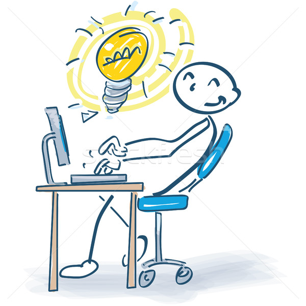 Stock photo: Stick figure at the computer with a good ideas