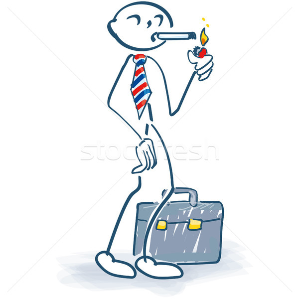 Stick figure as a manager makes  a cigarette break Stock photo © Ustofre9