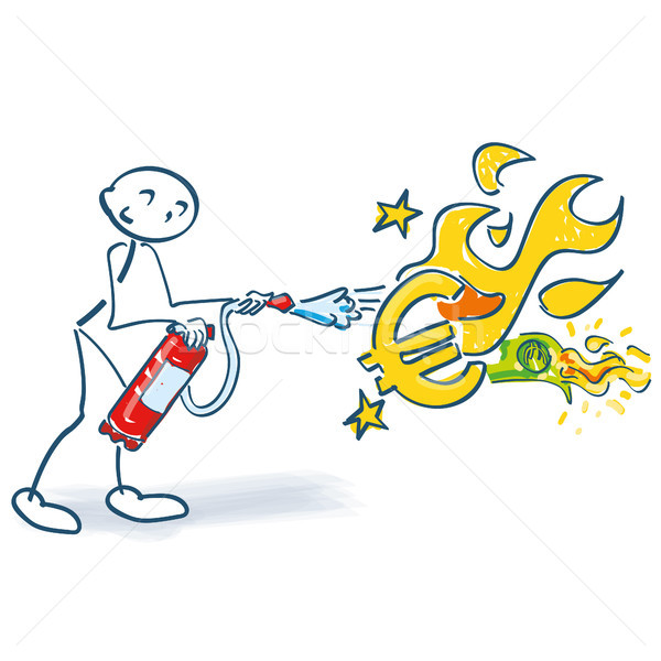 Stick figure with fire extinguisher and burning euro Stock photo © Ustofre9