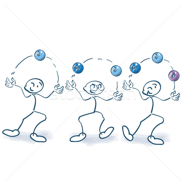 Stick figures are juggling balls Stock photo © Ustofre9