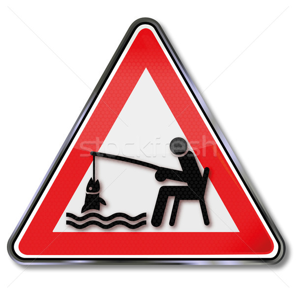 Sign angler angling fishing a fish  in a fishing club Stock photo © Ustofre9