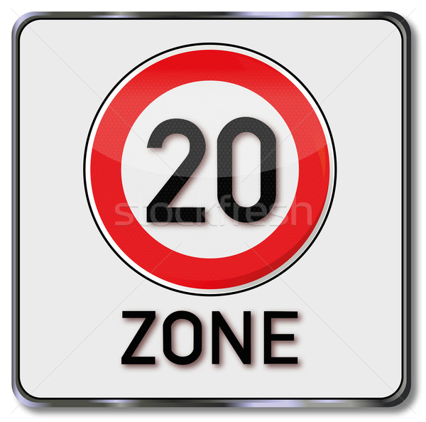 Traffic sign Maximum speed 20 zone Stock photo © Ustofre9