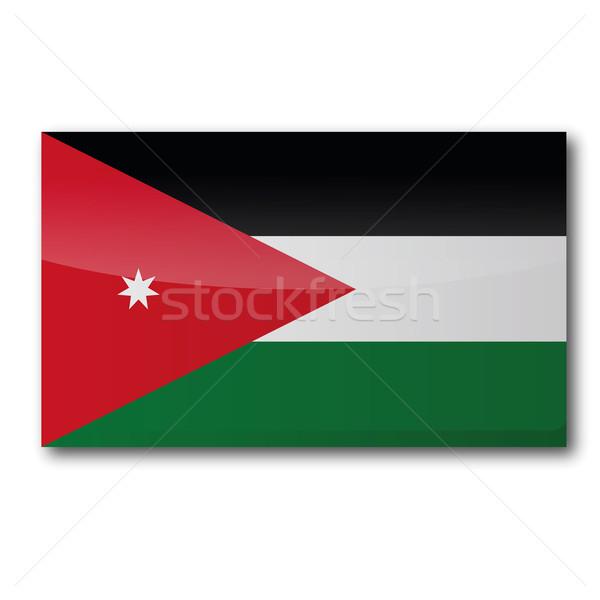 Banderą Jordania Pokaż kraju mapy przycisk Zdjęcia stock © Ustofre9