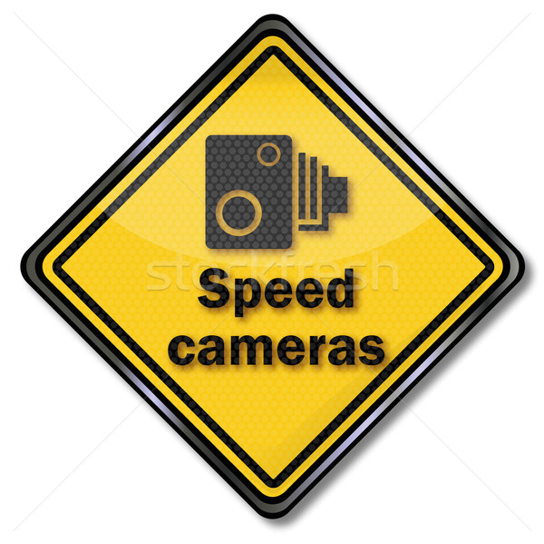 Traffic sign caution speed cameras Stock photo © Ustofre9