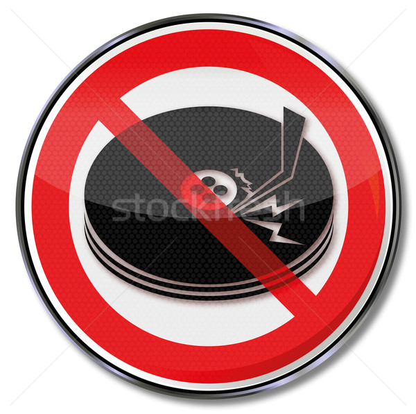 Prohibition sign with scratched disk  Stock photo © Ustofre9