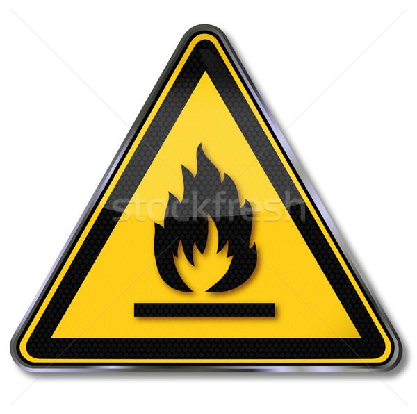 Veszély tábla figyelmeztető jel gyúlékony anyagok tűz felirat Stock fotó © Ustofre9