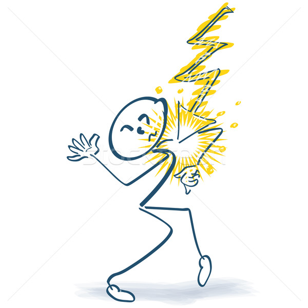 Stick figure with sudden flash and pain Stock photo © Ustofre9