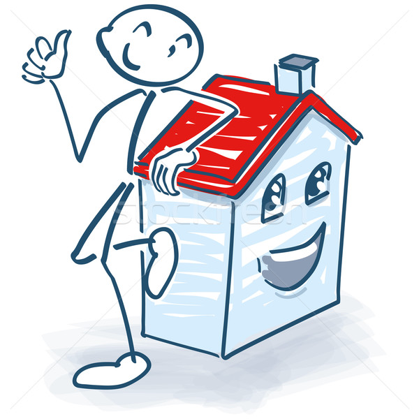Stick figure with house, household and construction Stock photo © Ustofre9
