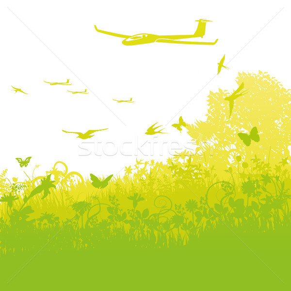 Pływające powietrza kwiaty wiosną lata ptaków Zdjęcia stock © Ustofre9