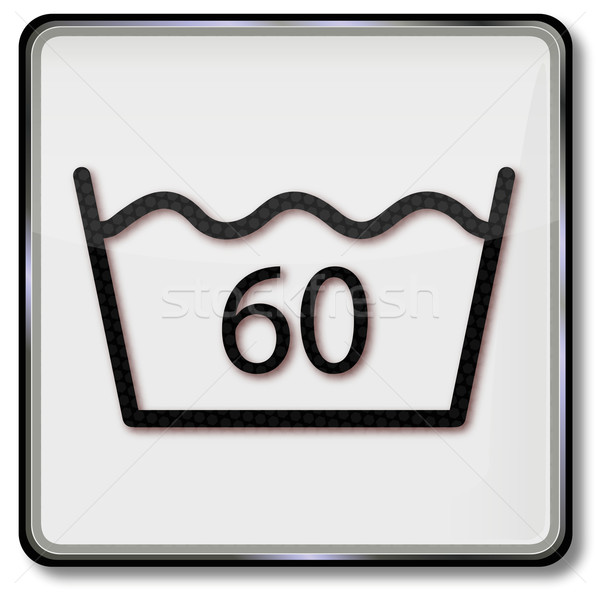 Textile care symbol please wash only up to 60 degrees Stock photo © Ustofre9