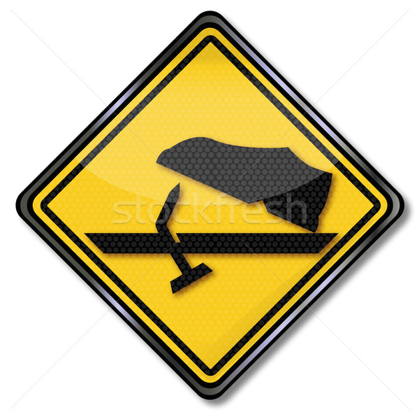 Warning sign caution protruding nails Stock photo © Ustofre9