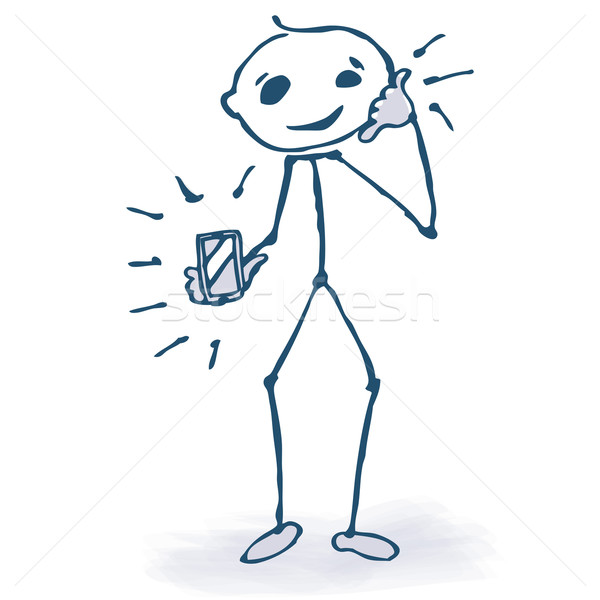 Stick figure with phone  Stock photo © Ustofre9