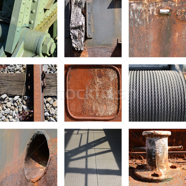 Nine rusty iron plates and structures Stock photo © Ustofre9