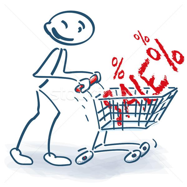 Pálcikaember bevásárlókocsi vásár üzlet pénz vásárlás Stock fotó © Ustofre9