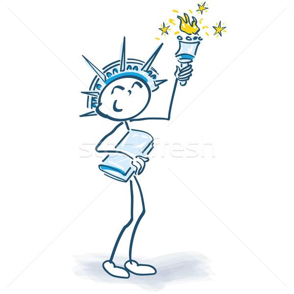 Stick figure статуя свободы прав подготовки успех Сток-фото © Ustofre9