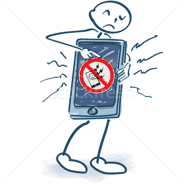 Stick figure with smartphone and phone damage Stock photo © Ustofre9