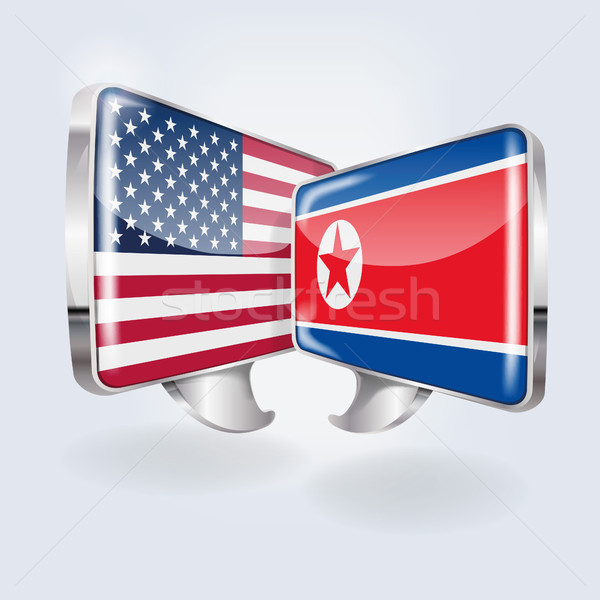 Speech bubbles with USA and North Korea Stock photo © Ustofre9