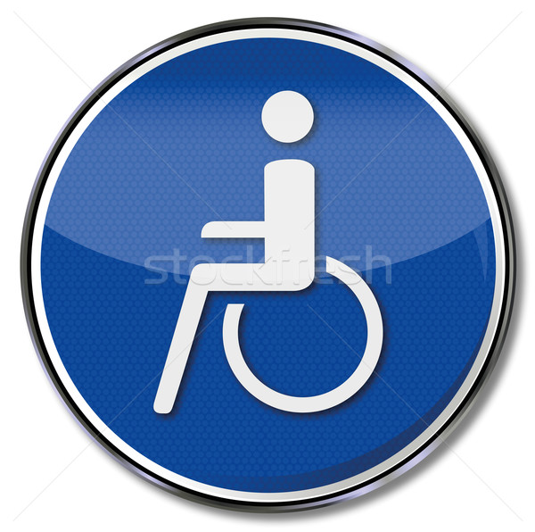 Stock photo: Sign wheelchair and wheelchairs