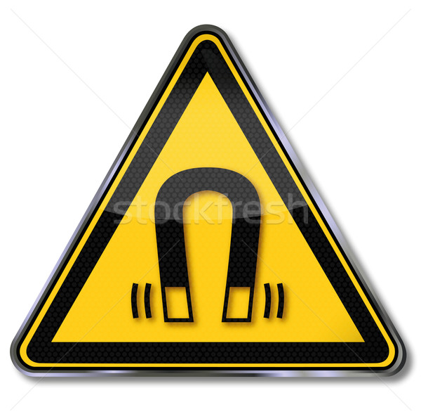 Danger sign warning of magnetic field  Stock photo © Ustofre9
