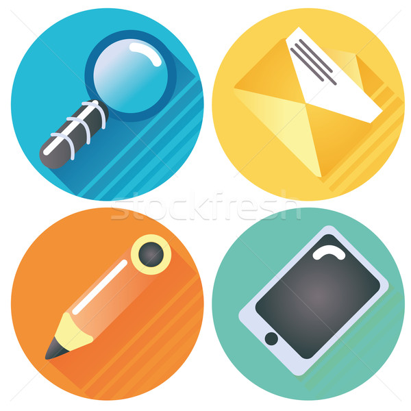 Four internet buttons magnifying glass, letter, pen and tablet Stock photo © Ustofre9