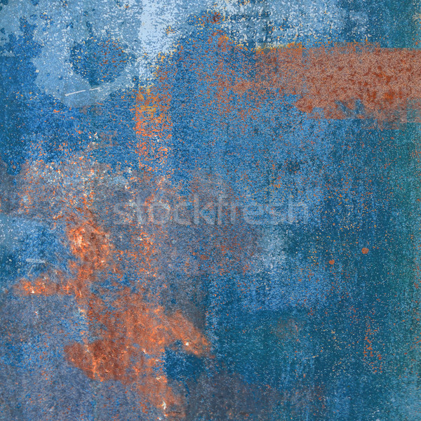 Rusty steel plate with blue ink residues Stock photo © Ustofre9