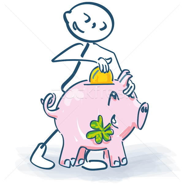 Stick figure with a little piggy Stock photo © Ustofre9
