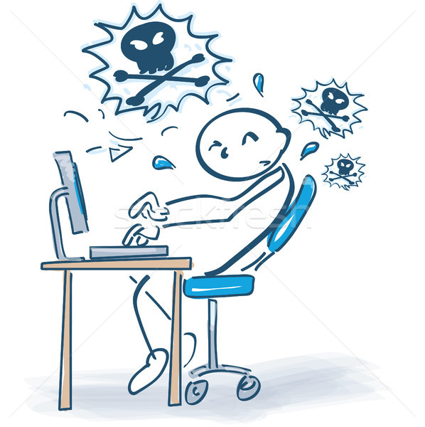 Stick figure frustracja komputera działalności Internetu pracy Zdjęcia stock © Ustofre9
