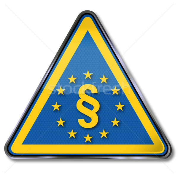 Stock photo: Shield with paragraph and with european law