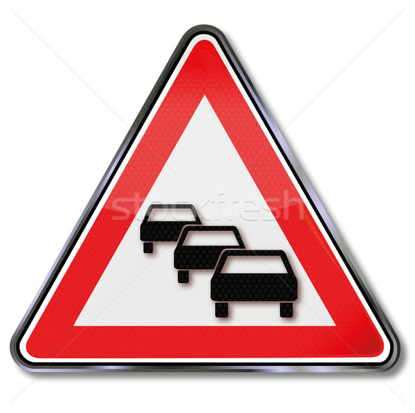 Road sign zipper in traffic Stock photo © Ustofre9