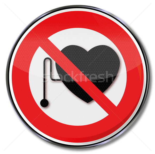 Prohibition sign for people with a pacemaker Stock photo © Ustofre9