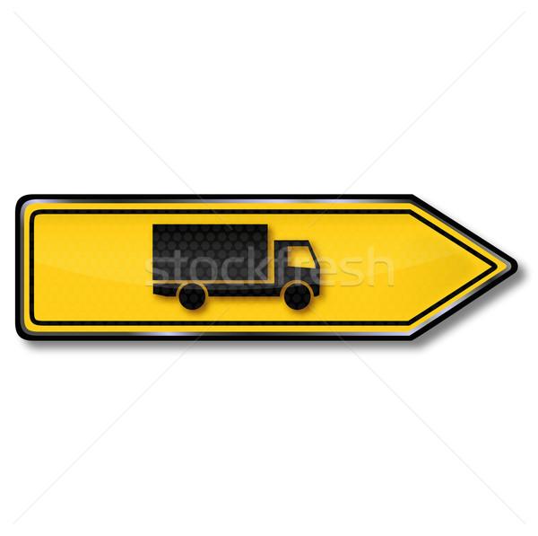 Jelzőtábla kerülőút teherautók út utca felirat Stock fotó © Ustofre9