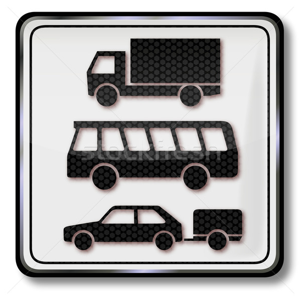 Traffic sign truck, bus and car with trailer Stock photo © Ustofre9