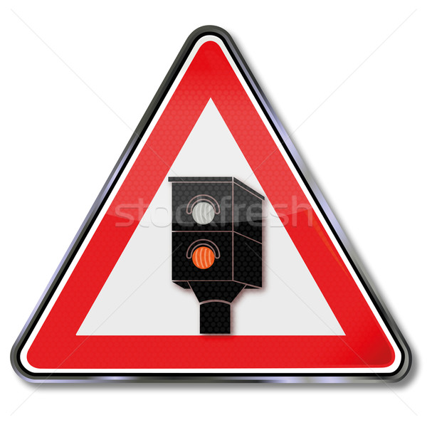 Traffic sign caution radar and lightning  Stock photo © Ustofre9