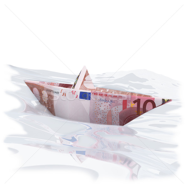 Little paper boat with 10 euros Stock photo © Ustofre9