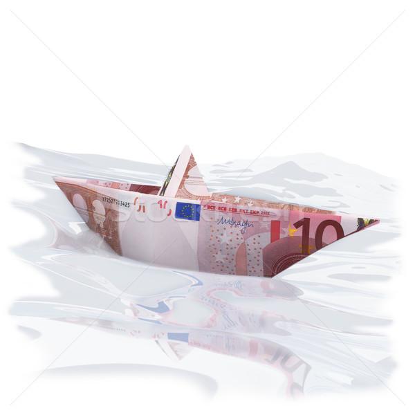 Weinig papier boot 10 euro geld Stockfoto © Ustofre9