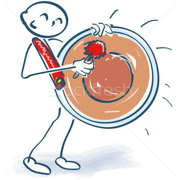 Stock photo: Stick figure hitting a huge kettle drum