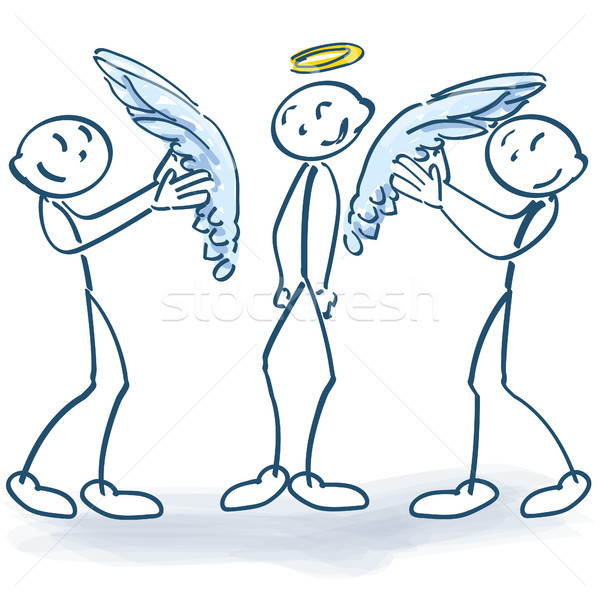 Stick figures sticking wings to a little angel Stock photo © Ustofre9