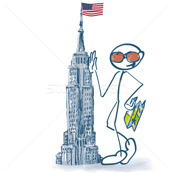 Stick figure as a tourist with a city tour in Manhattan Stock photo © Ustofre9