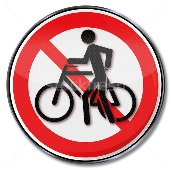 Prohibition sign for cycling and bike slide Stock photo © Ustofre9