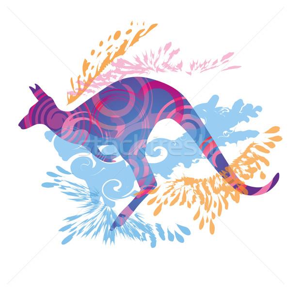 Ugrik kenguru fű szemek sportok szépség Stock fotó © Ustofre9