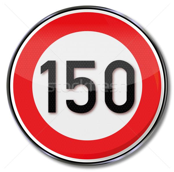 Sinaleiro limite de velocidade lei acelerar tráfego sinais Foto stock © Ustofre9