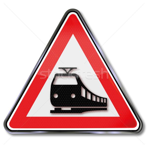 Közlekedési tábla figyelmeztetés vasútvonal vonatok felirat vonat Stock fotó © Ustofre9
