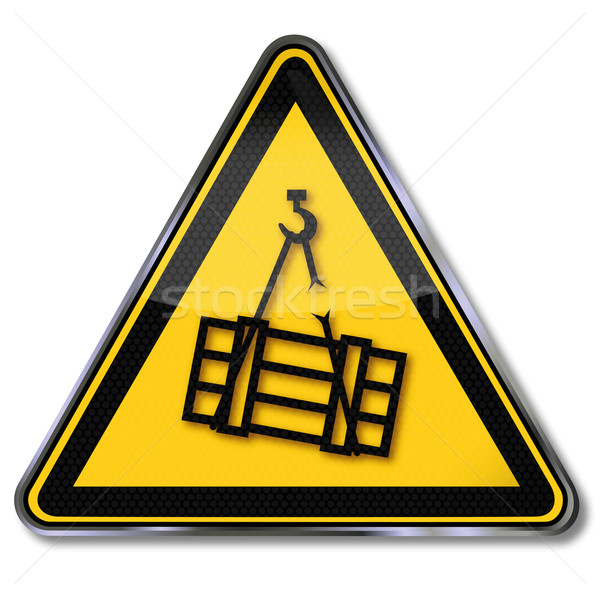 Stock photo: Danger sign caution heavy floating charge and breakage