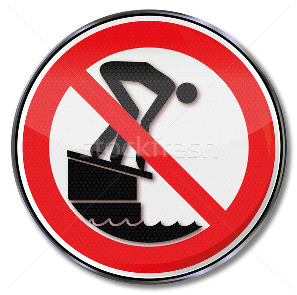 Prohibition sign please do not jump off the starting block into the pool Stock photo © Ustofre9