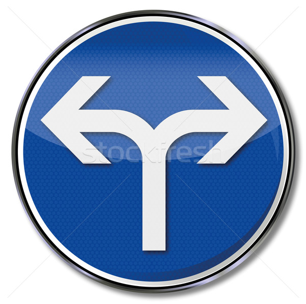 Road sign arrow pointing right and left turn Stock photo © Ustofre9