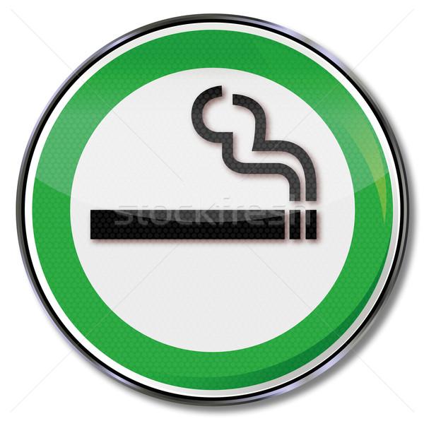 Zöld pajzs dohányzás megengedett egészség füst Stock fotó © Ustofre9