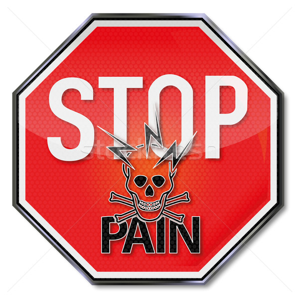 Stop sign with pain, lightning and skull Stock photo © Ustofre9