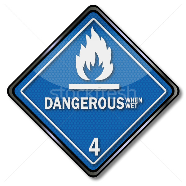 Danger sign four, flammable when wet Stock photo © Ustofre9