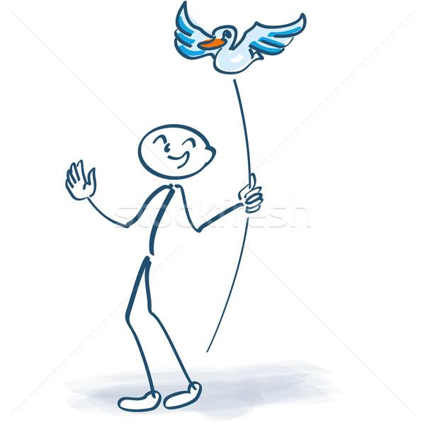 Stick figure птица Stick любви птиц успех Сток-фото © Ustofre9